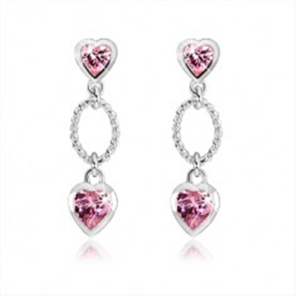 Šperky eshop Strieborné náušnice 925, dve ružové zirkónové srdcia, zdobený ovál