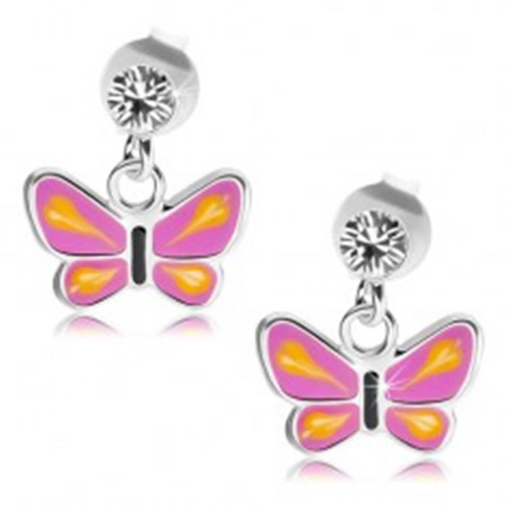 Šperky eshop Strieborné náušnice 925, motýľ s fialovými krídlami, žlté slzičky, číry krištáľ