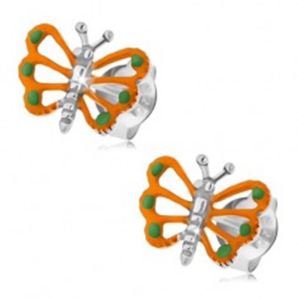 Šperky eshop Strieborné náušnice 925, oranžový motýlik s vyrezávanými krídlami