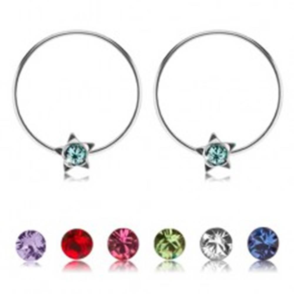 Šperky eshop Strieborné okrúhle náušnice 925, hviezdička s farebným krištálikom Swarovski - Farba: Červená