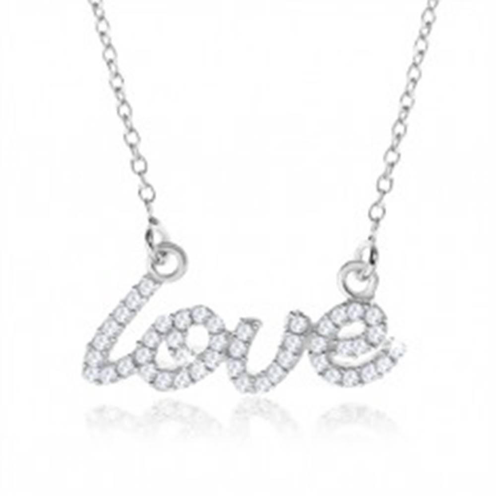 """Šperky eshop Strieborný náhrdelník 925, ozdobný nápis """"love"""" z čírych zirkónov"""
