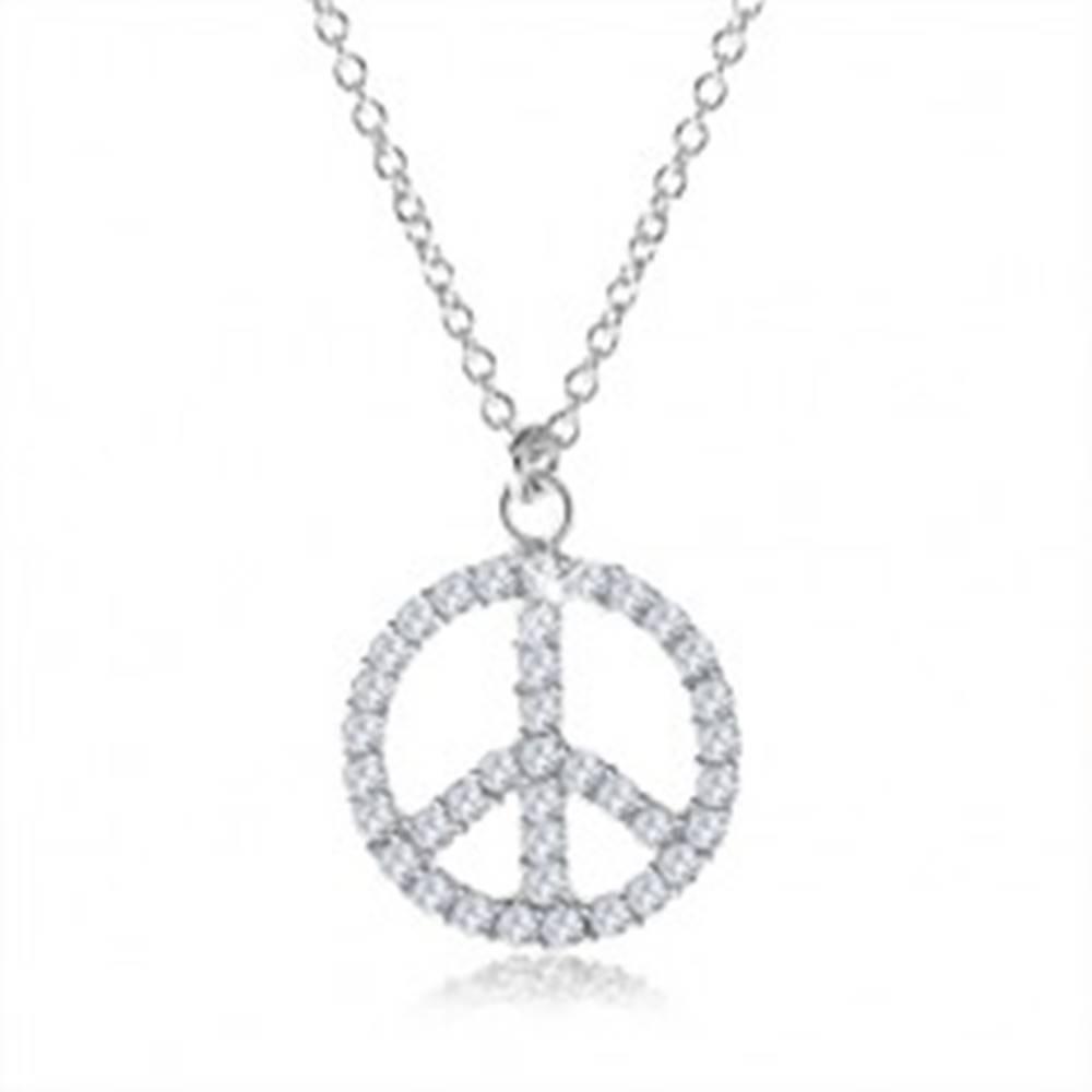 Šperky eshop Strieborný náhrdelník 925, symbol mieru vykladaný čírymi zirkónmi