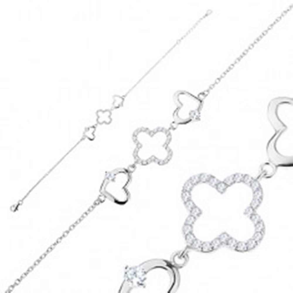 Šperky eshop Strieborný náramok 925, drobné očká, obrysy srdiečok a kvetu, číre zirkóny