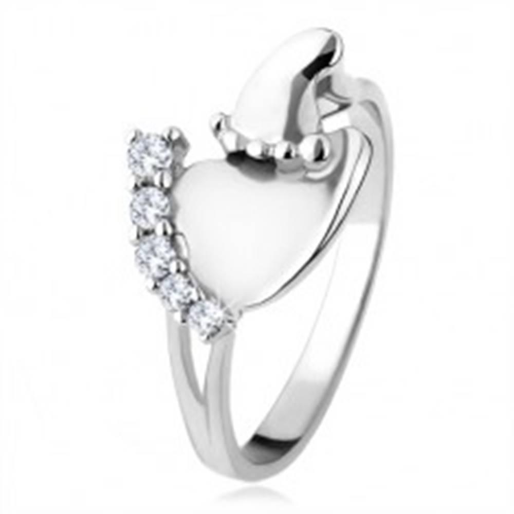 Šperky eshop Strieborný prsteň 925, väčšie a menšie chodidlo, číre ligotavé kamienky - Veľkosť: 49 mm