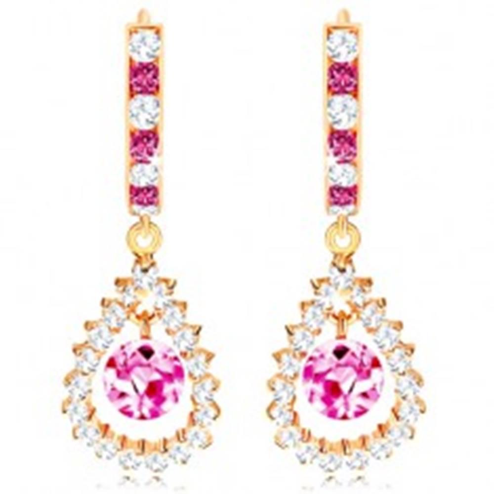Šperky eshop Zlaté náušnice 585, ružovo-číry kruh, ružová gulička v zirkónovom obryse slzy
