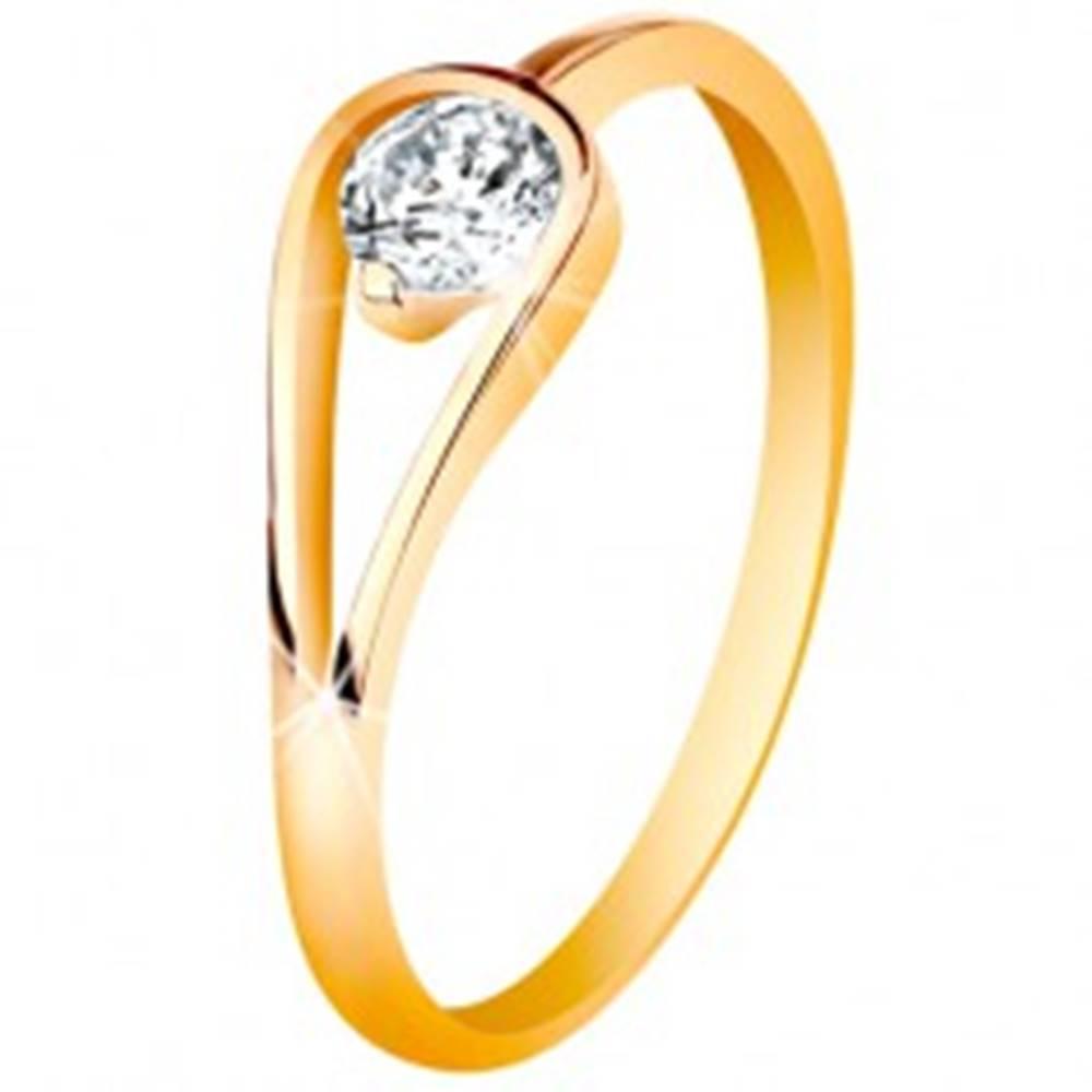 Šperky eshop Zlatý 14K prsteň s úzkymi lesklými ramenami, číry zirkón v slučke - Veľkosť: 49 mm