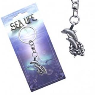 Lesklý prívesok na kľúče, dva delfíny vyskakujúce z vĺn