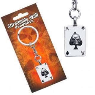 Lesklý prívesok na kľúče, pokrová karta Esa s lebkou