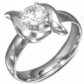 Lesklý prsteň z ocele, ozdobné vlnky, brúsený zirkón v kotlíku - Veľkosť: 49 mm