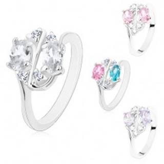 Ligotavý prsteň zdobený farebnými zirkónovými oválmi a čírymi zirkónikmi - Veľkosť: 50 mm, Farba: Ružová