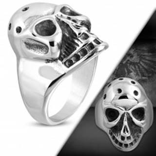 Masívny prsteň z ocele 316L, patinovaná lebka s jamkami na temene - Veľkosť: 51 mm
