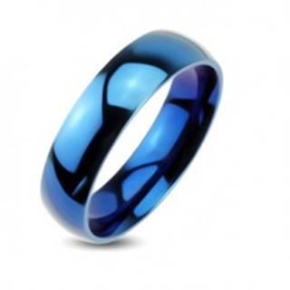 Modrá kovová obrúčka - hladký prsteň so zrkadlovým leskom - Veľkosť: 48 mm