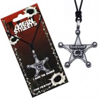 Náhrdelník so šnúrkou, kovový odznak, hviezda, nápis Sherrif