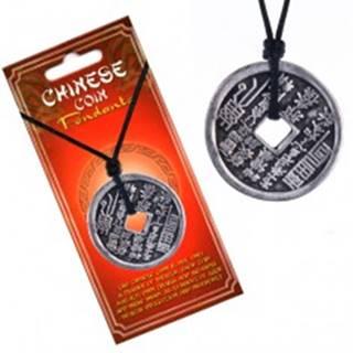 Náhrdelník so šnúrkou – minca, zvislé čínske znaky a piktogramy