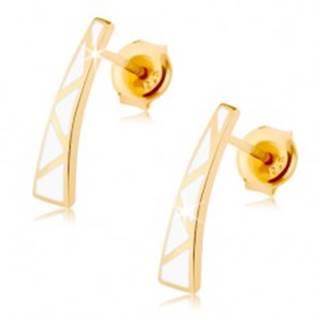 Náušnice v žltom 14K zlate - rozšírený pásik, biele trojuholníčky