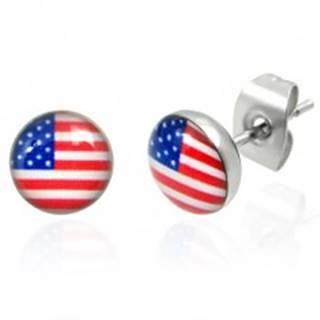 Oceľové náušnice - americká vlajka