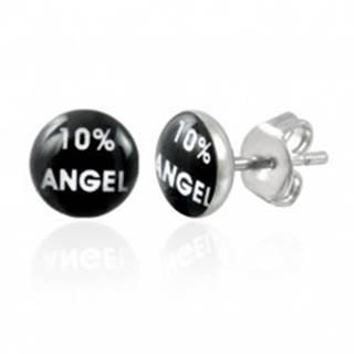 Oceľové náušnice, čierny kruh s bielym nápisom 10% ANGEL