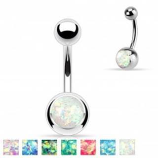Oceľový piercing do brucha striebornej farby, gulička s imitáciou opálu - Farba: Aqua modrá