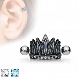 Oceľový piercing do ucha, patinovaná čelenka, činka s guličkami - Farba zirkónu: Aqua modrá - Q