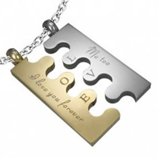 Oceľový prívesok Puzzle, strieborno-zlatá farba