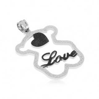"""Oceľový prívesok - trblietavá silueta medvedíka, čierne srdiečko, nápis """"Love"""""""