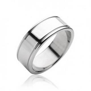Oceľový prsteň hladký matný, lesklé okraje - Veľkosť: 59 mm