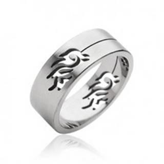 Oceľový prsteň symbol Tribal - Veľkosť: 59 mm