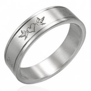 Oceľový prsteň- zamilované holuby - Veľkosť: 51 mm