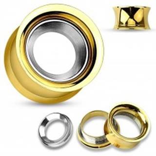Oceľový tunel do ucha zlatej farby s kruhom v striebornom odtieni, vysoký lesk - Hrúbka: 10 mm