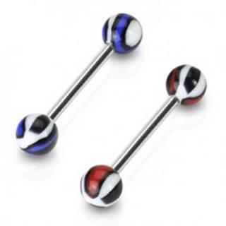 Piercing do jazyka vzorovaná gulička - Farba piercing: Modrá