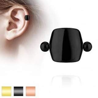 Piercing do tragusu z ocele 316L - tyčka s guličkami a hladkým oblúčikom - Farba piercing: Čierna