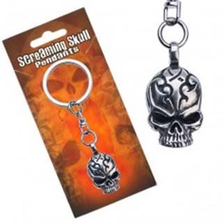 Prívesok na kľúče kovový, lebka s vyrytými ornamentmi