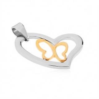 Prívesok z chirurgickej ocele, asymetrický obrys srdca, línia motýľa v zlatej farbe