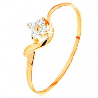 Prsteň zo žltého 14K zlata - kvietok z čírych diamantov, zvlnené rameno - Veľkosť: 49 mm