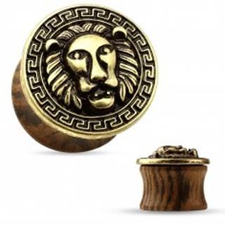 Sedlový plug do ucha z dreva tmavohnedej farby, patinovaná levia hlava - Hrúbka: 12 mm