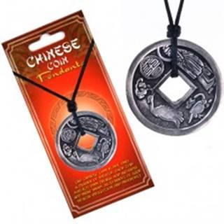 Šnúrkový náhrdelník čierny, prívesok, čínska minca, zverokruh