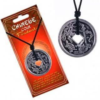 Šnúrkový náhrdelník, patinovaná čínska minca, korytnačka a meče