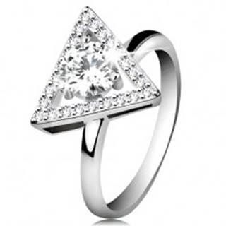Strieborný 925 prsteň - zirkónový obrys trojuholníka, okrúhly číry zirkón v strede - Veľkosť: 51 mm