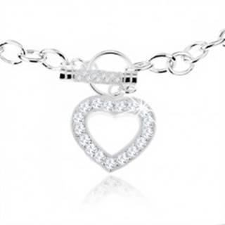 Strieborný náhrdelník 925, masívna retiazka, zirkónová kontúra srdca