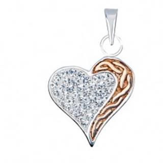 Strieborný prívesok 925 - zirkónové srdce s pásom zlatej farby