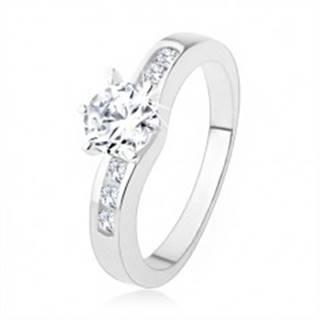 Strieborný prsteň 925, okrúhly číry zirkón, zdobené ramená prsteňa - Veľkosť: 50 mm