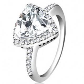 Strieborný prsteň 925, trojuholníkový číry zirkón, ligotavý lem, výrezy - Veľkosť: 47 mm