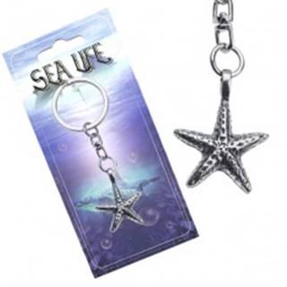 Striebristý prívesok na kľúče, kovová morská hviezdica