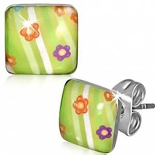 Štvorcové oceľové náušnice - zelené s kvietkami a pruhmi