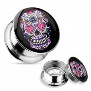 Tunel plug do ucha z ocele 316L, strieborná farba, ružovo-fialová lebka - Hrúbka: 10 mm