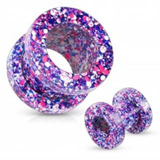 Tunel z ocele 316L, pofŕkaný fialovou, ružovou, modrou a bielou farbou - Hrúbka: 10 mm