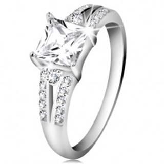 Zásnubný prsteň, striebro 925, číry zirkónový štvorec, zdobené ramená - Veľkosť: 48 mm
