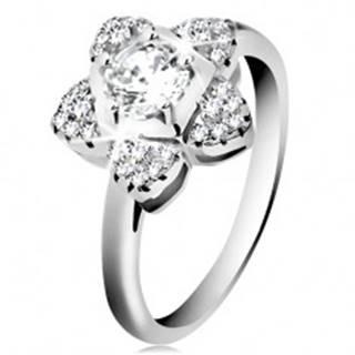 Zásnubný prsteň, striebro 925, ligotavý zirkónový kvietok čírej farby - Veľkosť: 46 mm