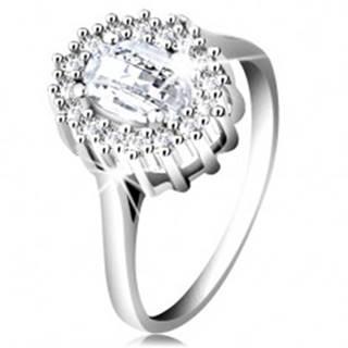 Zásnubný prsteň zo striebra 925, oválny brúsený zirkón, lem z drobných zirkónikov - Veľkosť: 49 mm