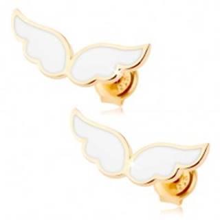 Zlaté náušnice 585 - anjelské krídla zdobené bielou glazúrou, puzetky